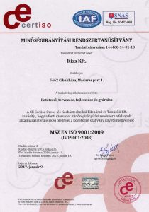 Tanusítvány ISO 9001:2009