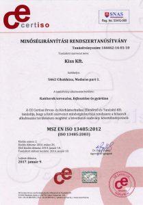 Tanusítvány ISO13485:2012